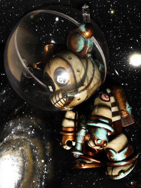 Decaying Orbit, Space Bear Qee custom by Doktor A.