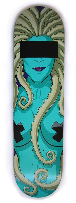 Lovecraft's Daughter skate deck painting By Bruce Whistlcraft, Doktor A.