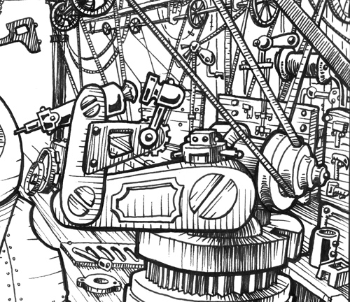 Mechtorian factory ink drawing by Doktor A.