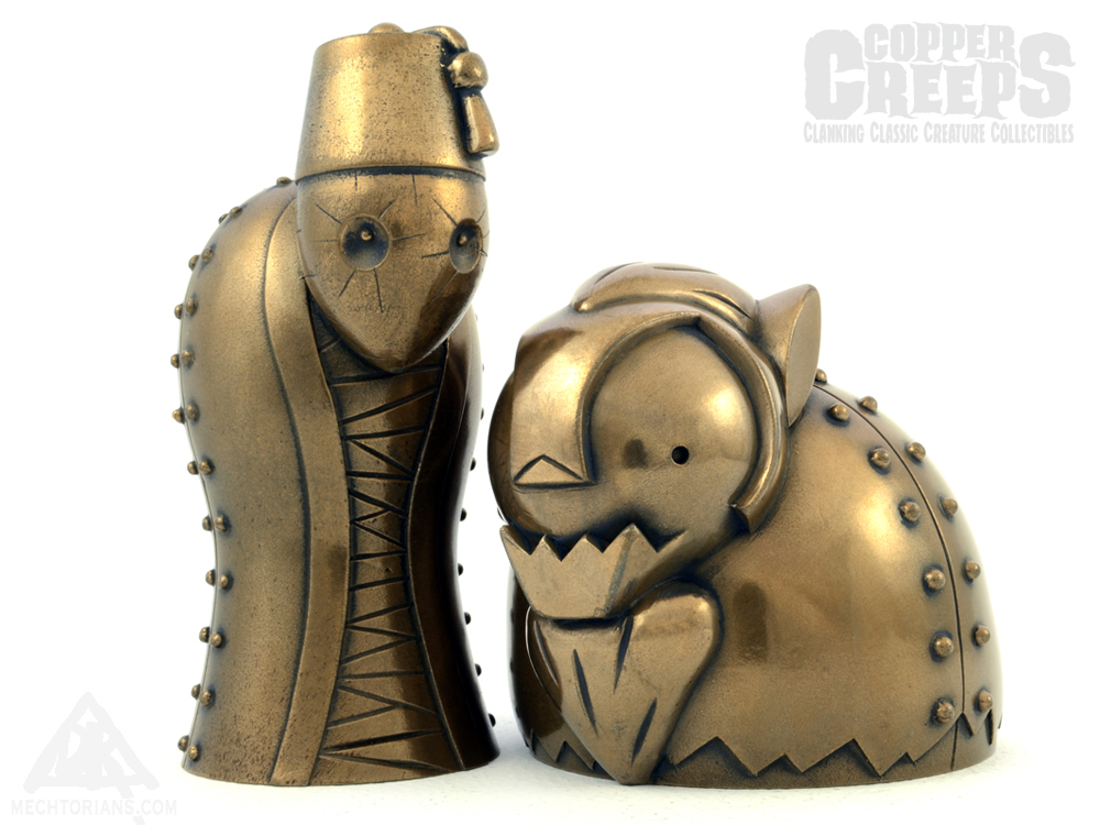 Copper Creeps Series 3 Imhotep the Mummy and the Wolfman Resin Robot collectibles by Doktor A.