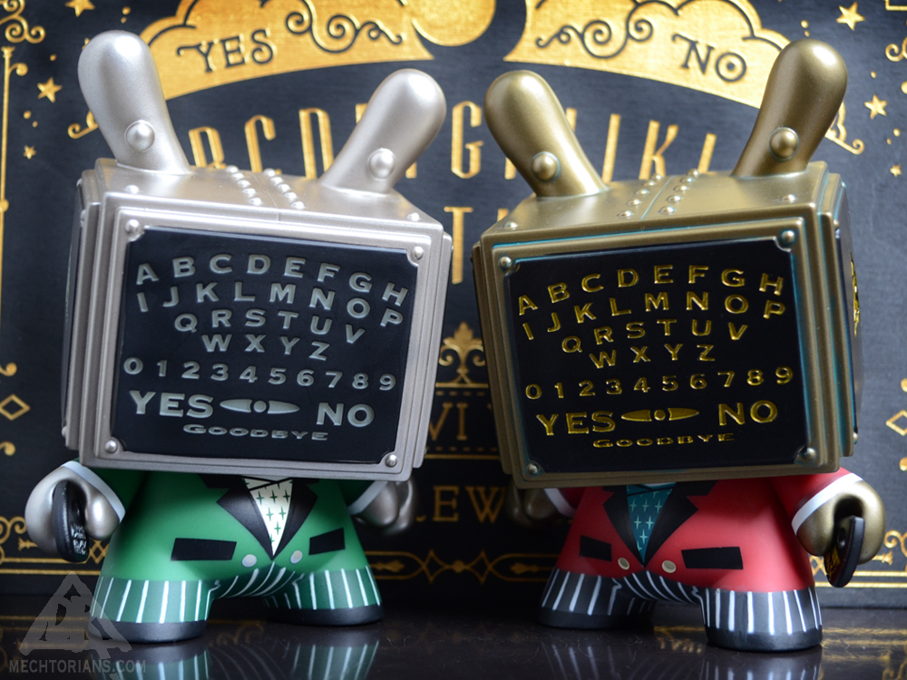 """Regular Red and Glow In the Dark Ouija Talking Board 5"""" Dunny by Kidrobot and Bruce Whistlecraft Doktor A. Mechtorian Vinyl Toy. Kidrobot Exclusive version."""