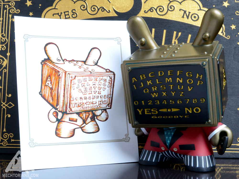 "Mini Prints with the APs of the Ouija Talking Board 5"" Dunny by Kidrobot and Bruce Whistlecraft Doktor A. Mechtorian Vinyl Toy."