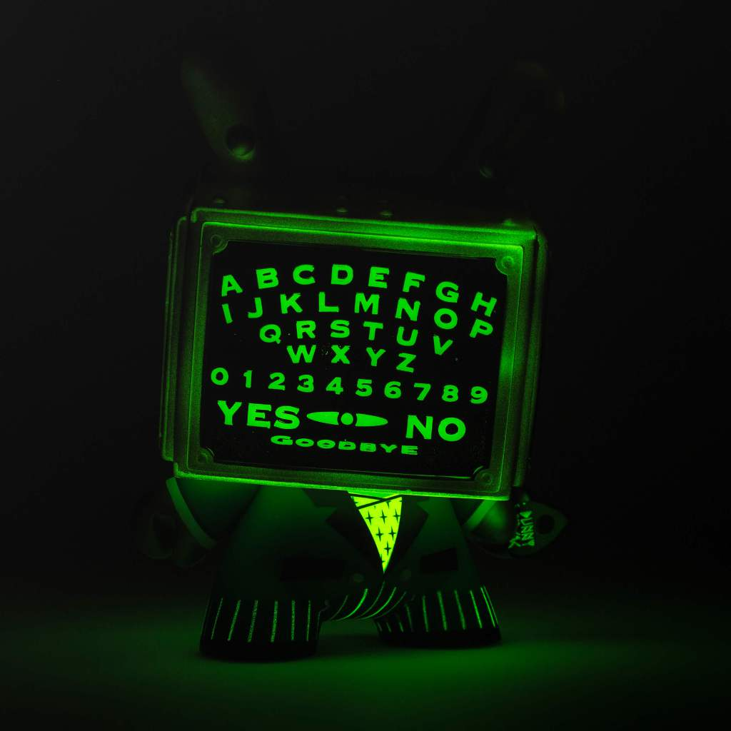 """Glow In the Dark Ouija Talking Board 5"""" Dunny by Kidrobot and Bruce Whistlecraft Doktor A. Mechtorian Vinyl Toy. Kidrobot Exclusive version."""