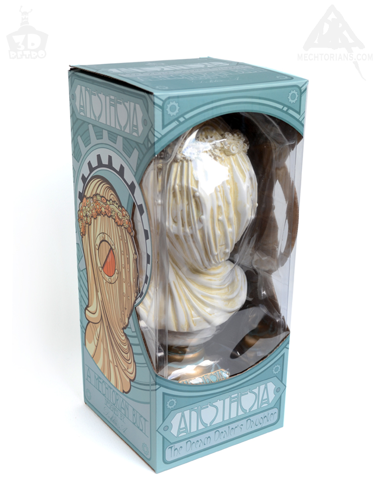 Anesthesia Veiled robotic lady Bust. Vinyl art collectible by Doktor A and 3D Retro. Sculpted by Bruce Whistlecraft. White Borley edition. Boxed.