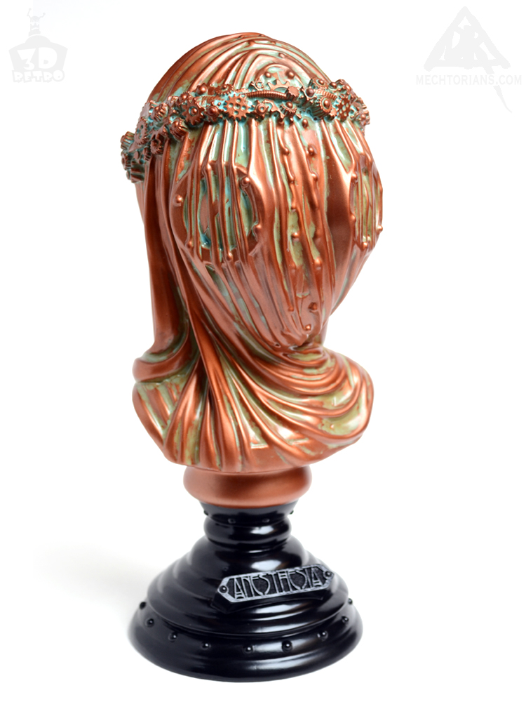 Anesthesia Veiled robotic lady Bust. Vinyl art collectible by Doktor A and 3D Retro. Sculpted by Bruce Whistlecraft. Bronze Verdigris Usher edition.