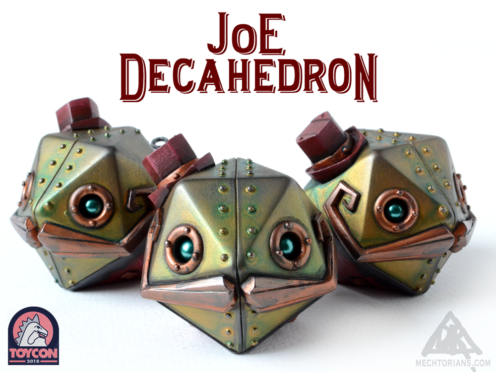 Joe Decahedron robot Mechtorian resin figure. Art collectible by Bruce Whistlecraft, Doktor A.