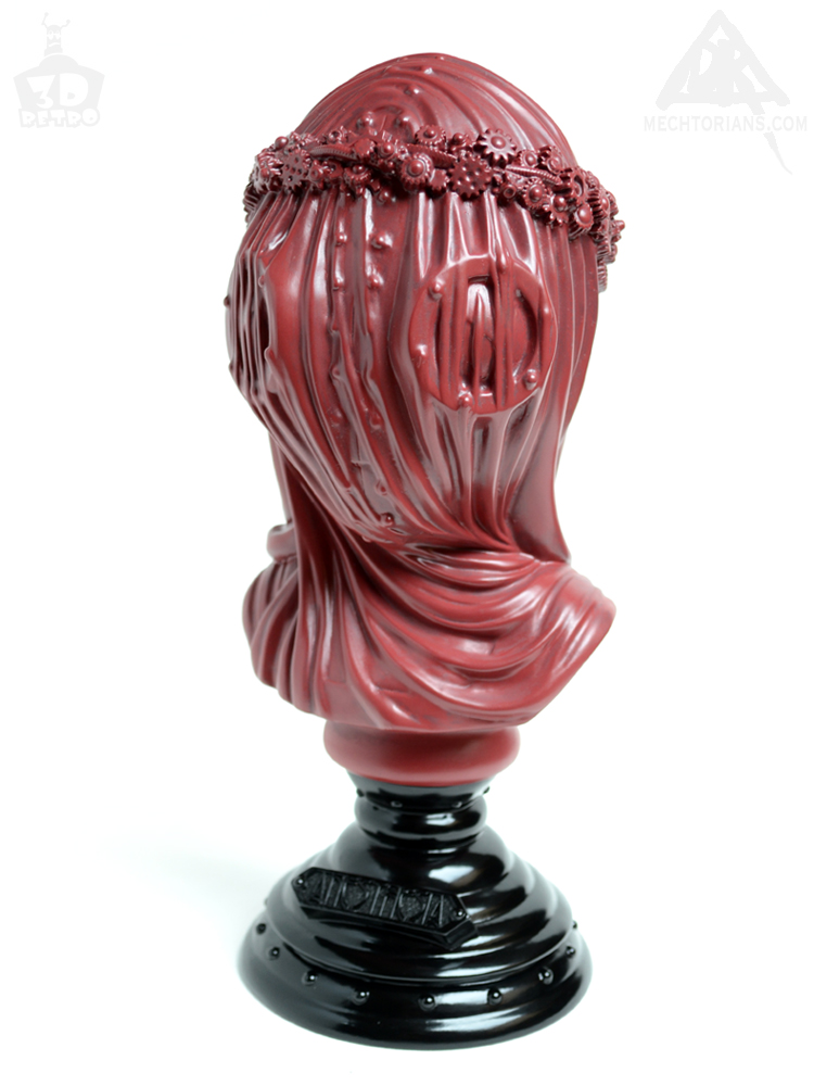 Crimson red Allerdale edition Anesthesia Veiled Lady bust sculpted by Doktor A, Bruce Whistlecraft. Produced by 3D Retro.