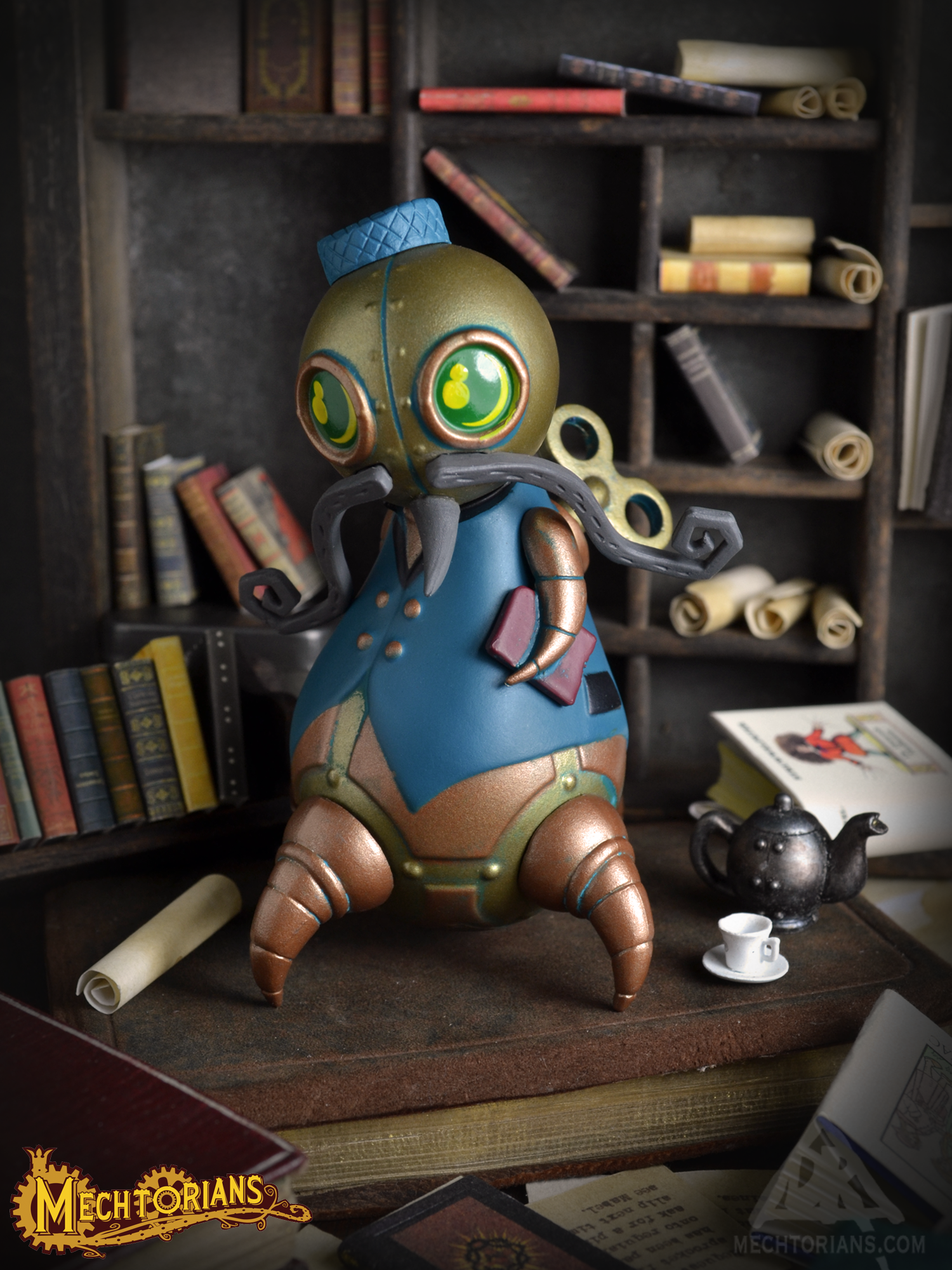Doktor A's Mini Mechtorians vinyl figure Series 2 with Kidrobot. Clawfoot Librarian